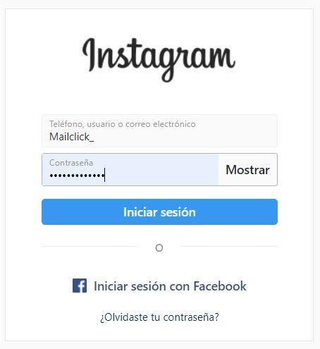 Página de inicio de sesión en Instagram