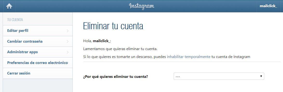 Captura de pantalla de la página de Eliminar tu cuenta