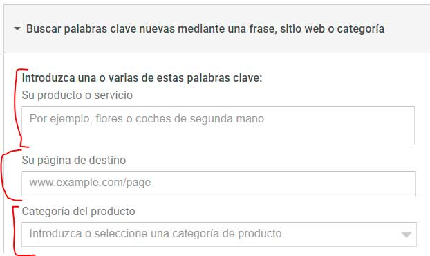 Keyword Planner para encontrar nuevas keywords