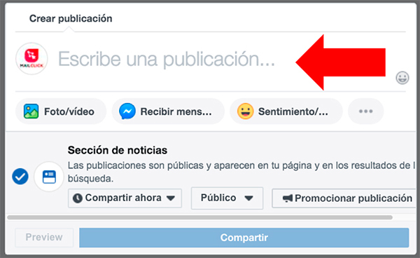 Imagen indicando la opción de escribir una publicación