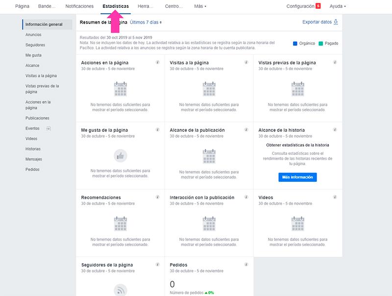 Captura de pantalla mostrando el menú de estadísticas para la página