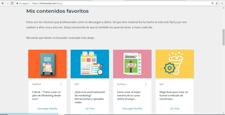 ejemplo de marketing de contenidos en blog de vilma nunez