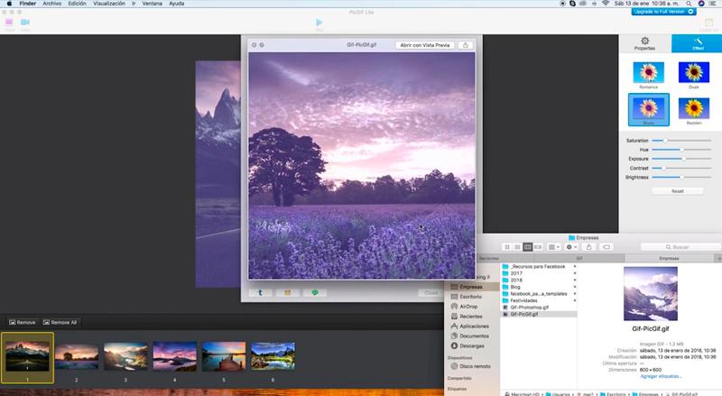 Captura de pantalla de la previsualización del archivo final y una ventana con carpetas
