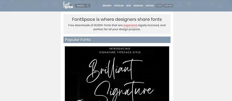 Captura de pantalla de Font Space para descargar tipografías y fuentes
