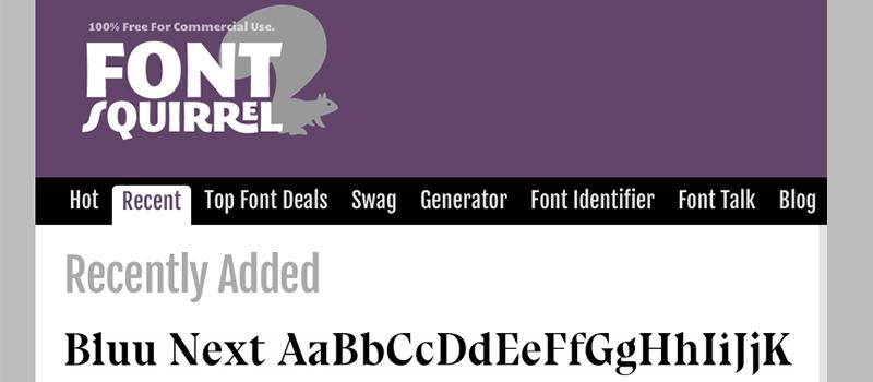 Captura de pantalla de la página Font Squirrel para descargar fuentes