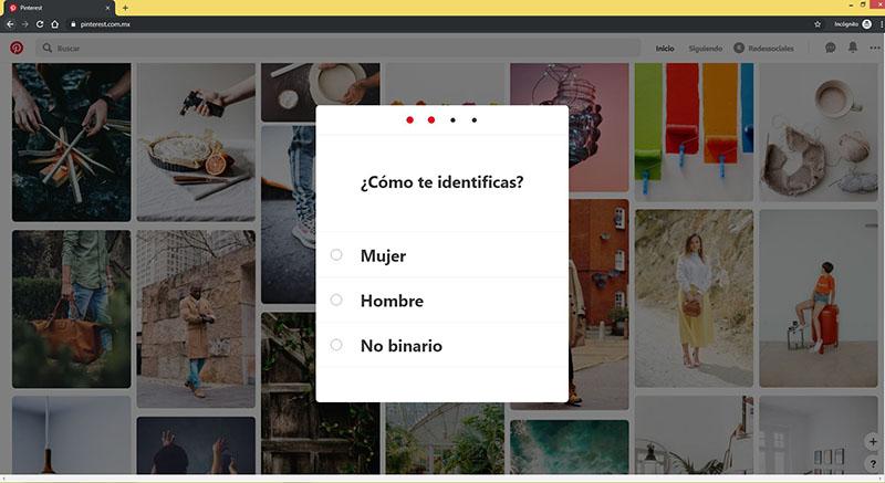 Captura del formulario para crear una cuenta en Pinterest