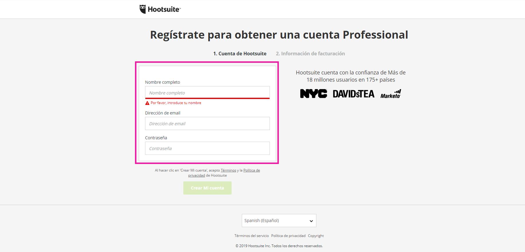 Captura de pantalla de formulario de registro