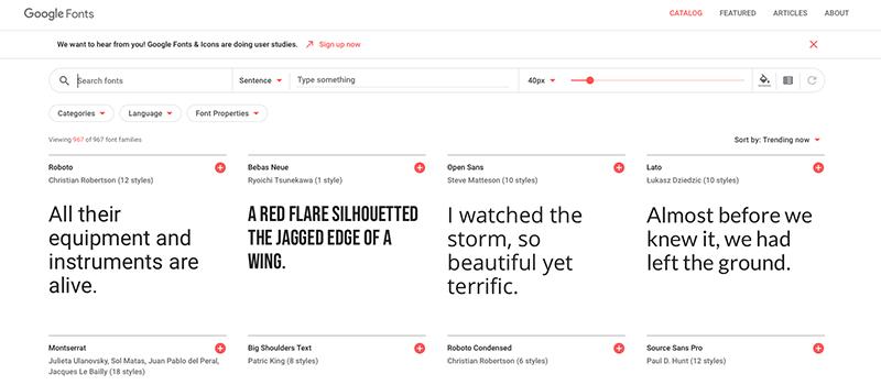 Captura de pantalla de la página Google Fonts para descargar tipografías gratis