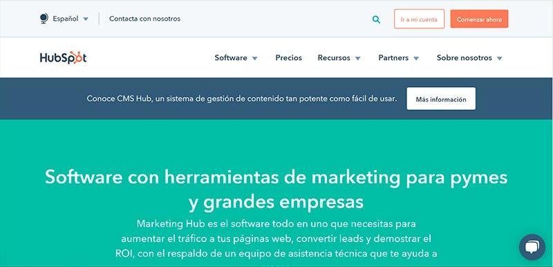 Captura de pantalla de la página de inicio de Hubspot