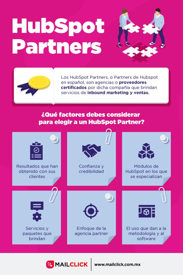 Infografía con definición de agencias partner y los factores a considerar para elegir una