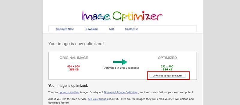 Captura de pantalla de la página Image Optimizer donde se muestra cómo descargar la imagen optimizada
