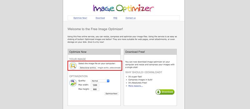 Captura de pantalla de la página Image Optimizer donde se carga la imagen a optimizar