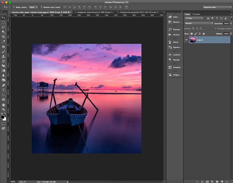 Imagen cortada a medida con la herramienta Recortar en Photoshop