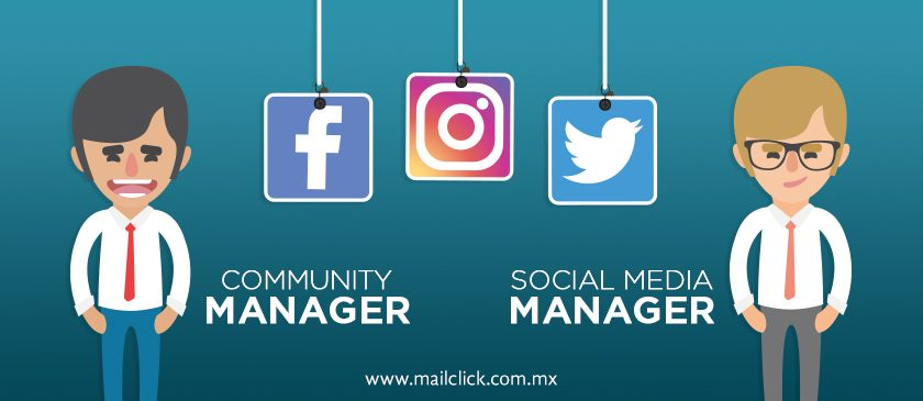 ilustración de un community manager y un social media manager