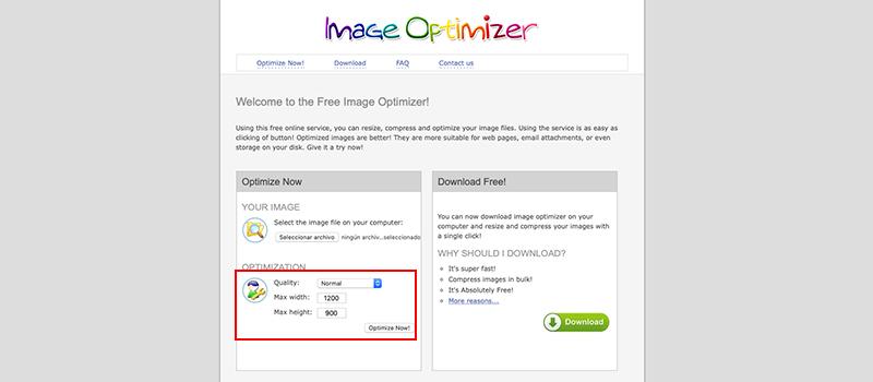 Captura de pantalla de la página Image Optimizer donde muestra cómo cambiar el tamaño de la imagen