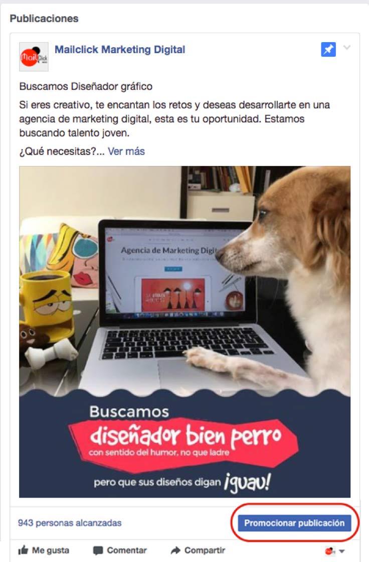 Paso 1: cómo crear publicidad en Facebook para novatos, impulsar tu publicación de Facebook al crearla o luego de publicarla