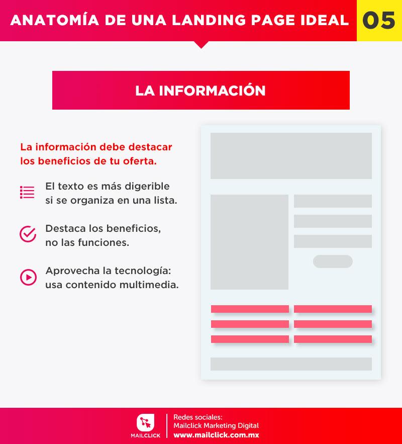 La información o contenido es una pieza vital en la anatomía de una landing page