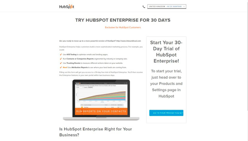 Ejemplo de información o contenido en una landing page