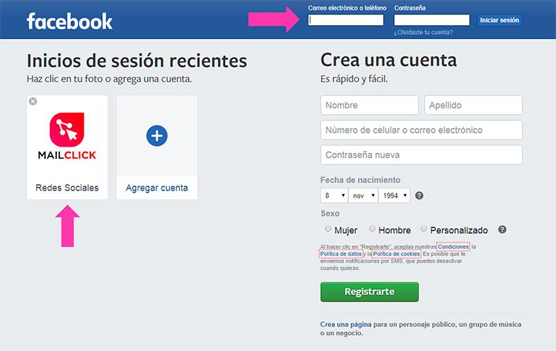Captura de pantalla indicando cómo entrar a tu perfil de Facebook