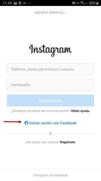 Iniciar sesión en Instagram con cuenta de Facebook