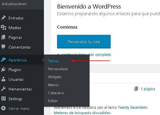 Captura de pantalla durante la instalación de un tema para WordPress del backend de WordPress menú Apariencia -> Temas