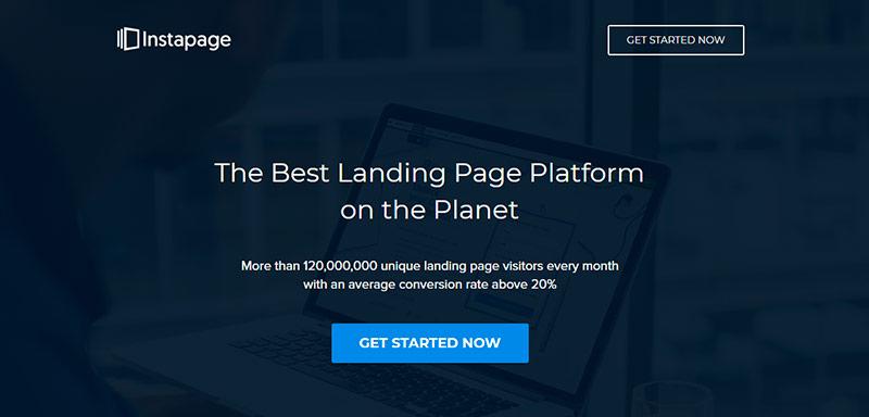 Screenshot de la página de inicio de Instapage: herramienta para crear landing pages