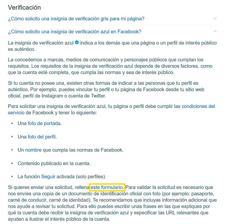 Captura de pantalla de instrucciones sobre como solicitar una verificación de una cuenta de facebook