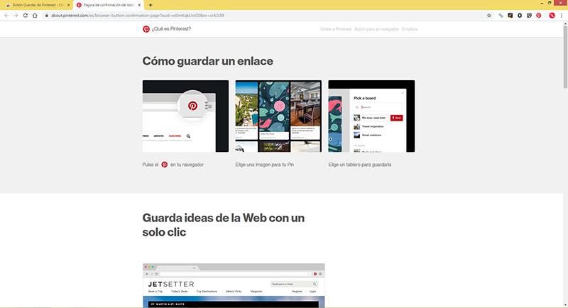 Captura de pantalla de las instrucciones de uso del botón de Pinterest
