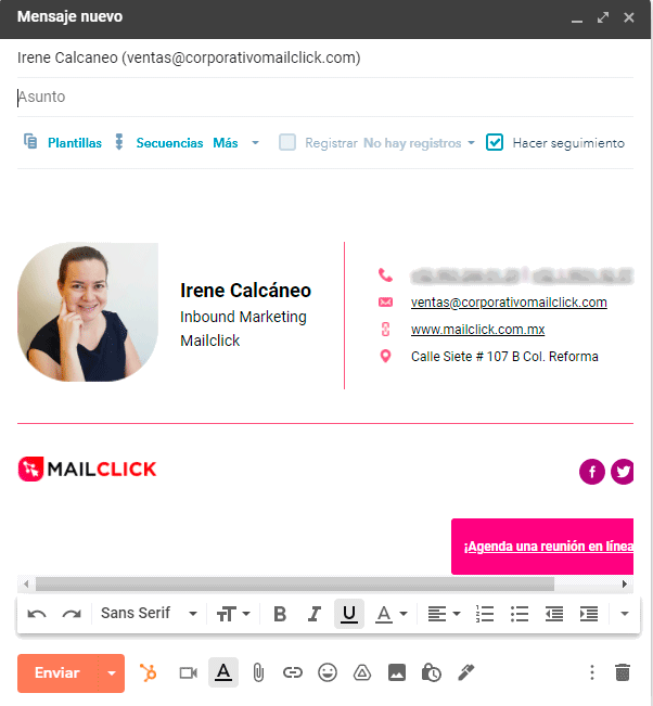 ejemplo de integracion de correo con crm