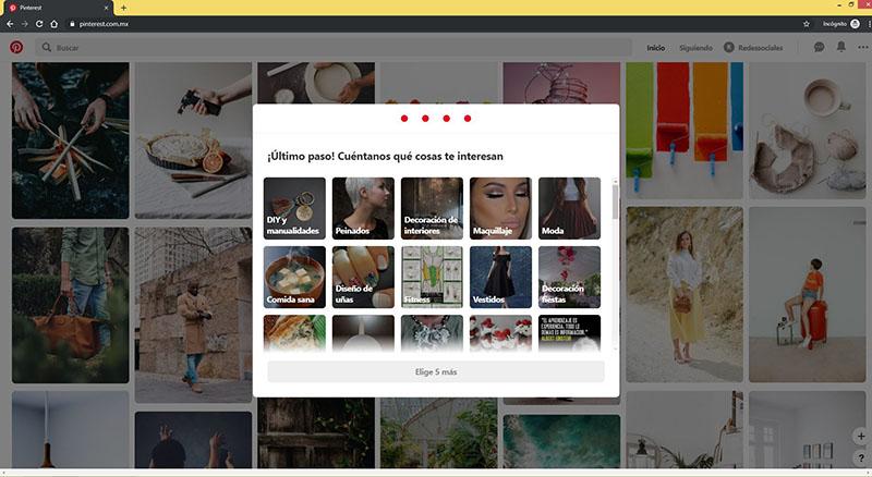 Captura de pantalla con temas para seleccionar en Pinterest