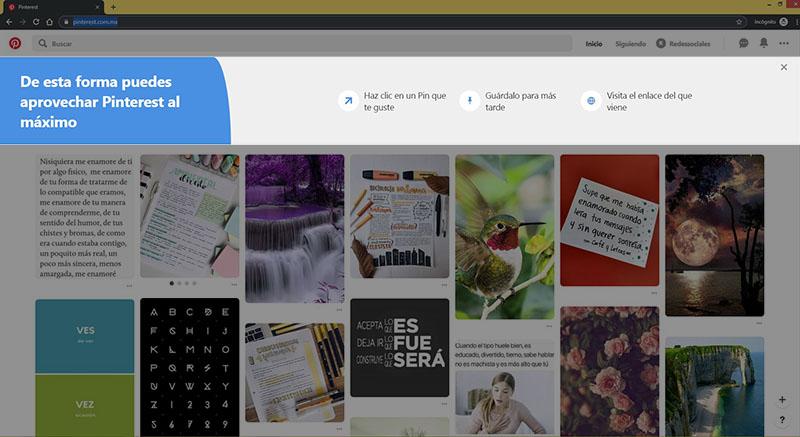 Captura de pantalla resaltando las intrucciones rápidas de Pinterest