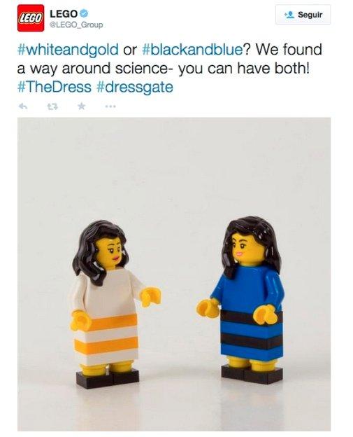 Imagen que muestra campaña de newsjacking de Lego con el vestido que los usuarios veían de distintos colores