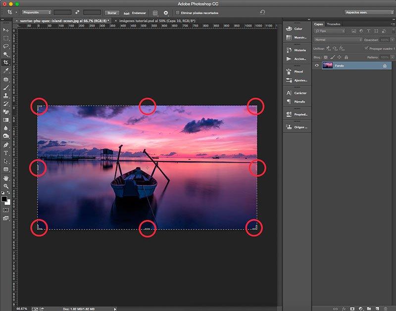 Manejadores de la herramienta Recortar en Photoshop