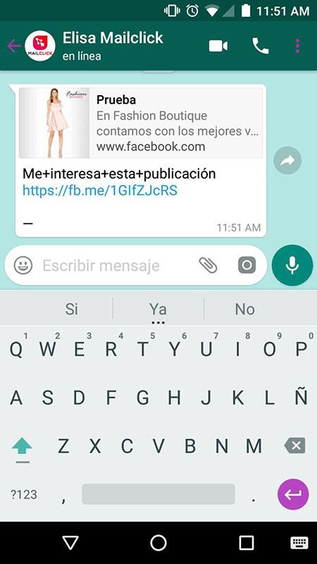 mensaje de persona interesada en un anuncio de facebook que contactó a través del botón de whatsapp