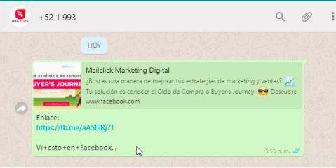 Captura de pantalla del mensaje de WhatsApp que se recibe cuando un cliente da clic en el anuncio de Facebook