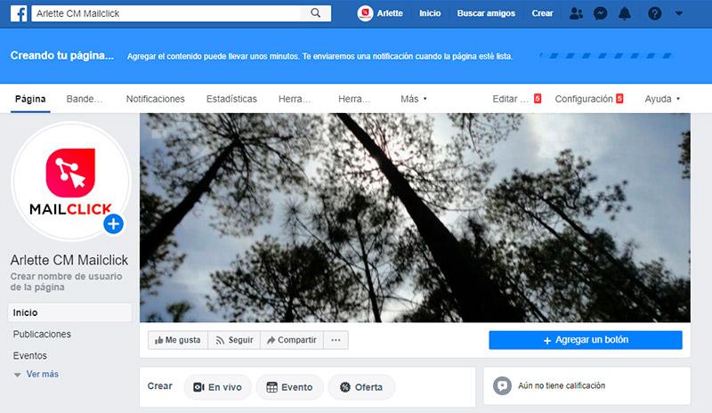 Captura de pantalla que muestra cómo aparece el mensaje de notificación del proceso de creación de la fan page de Facebook.