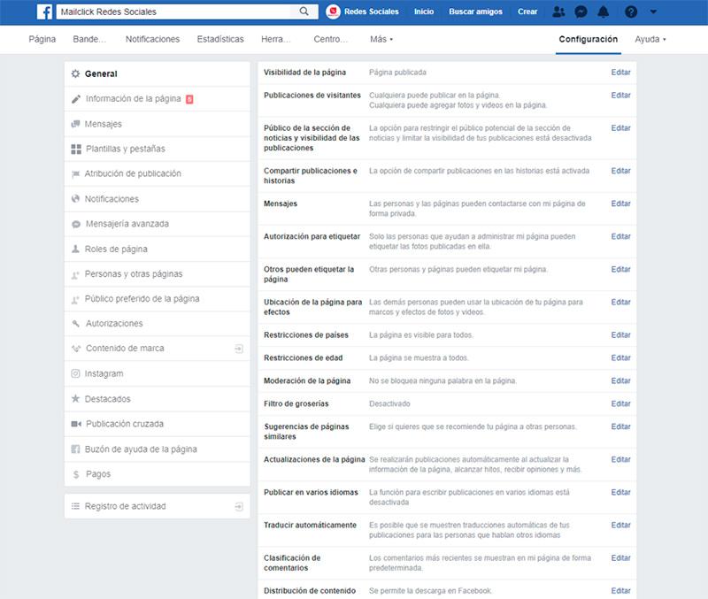 Captura de pantalla del menú de configuración