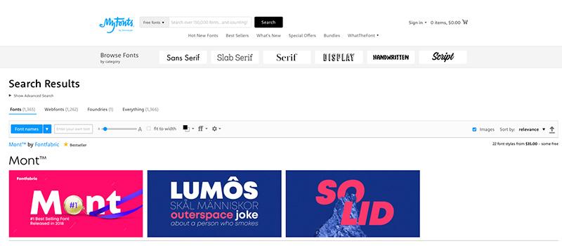 Captura de pantalla de la página My Fonts para descargar tipos de fuentes gratis