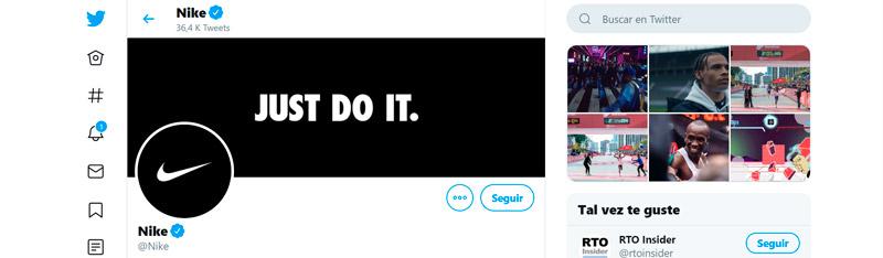 Captura de pantalla de la cuenta de Nike en Twitter
