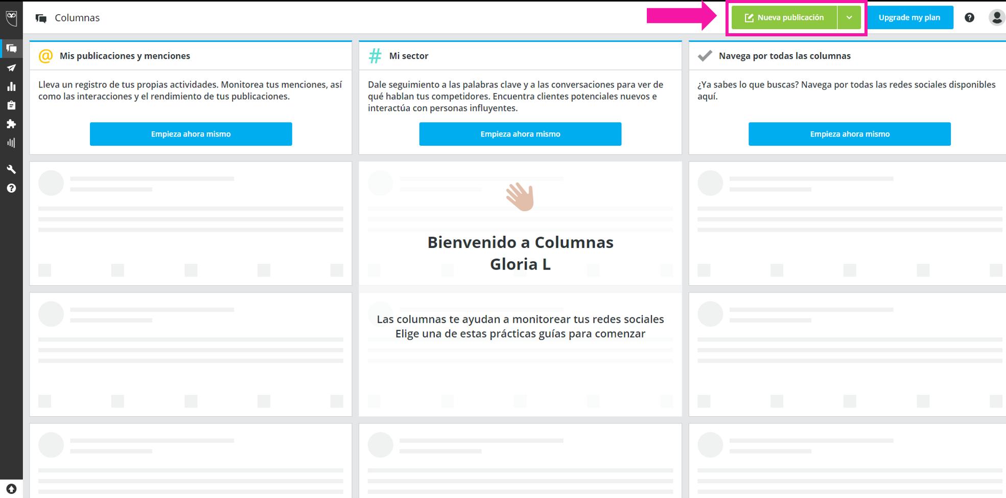 captura de pantalla mostrando el botón de nueva publicación