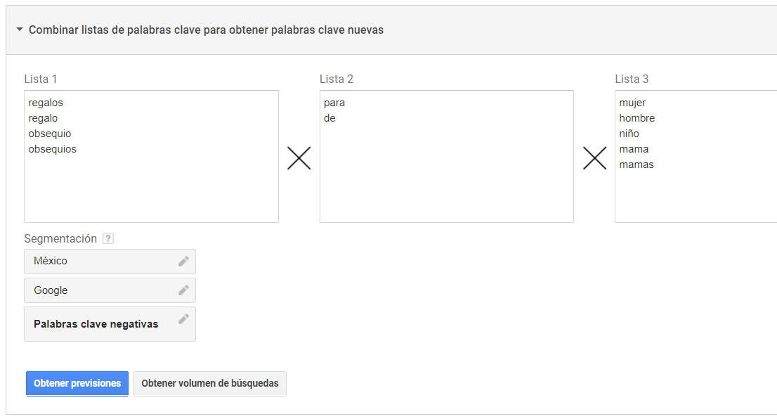 Obtener nuevas keywords concatenando en el planificador