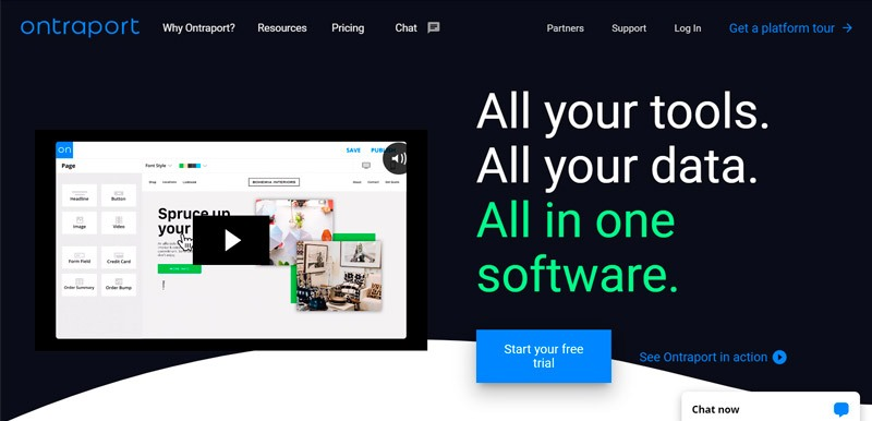 Captura de pantalla del sitio web de Ontraport