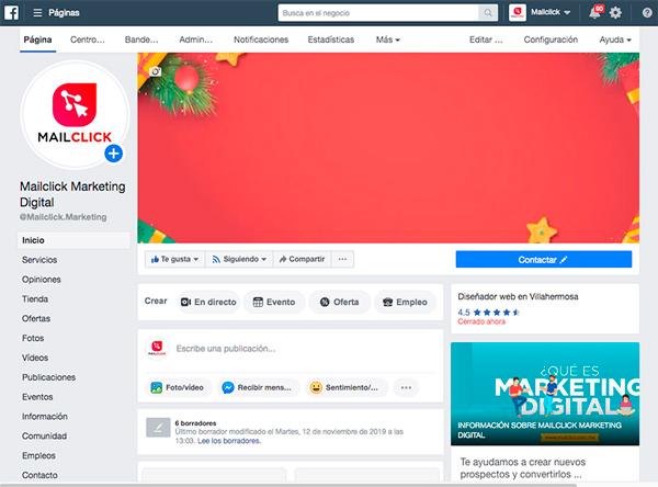 Captura de pantalla de página de Facebok