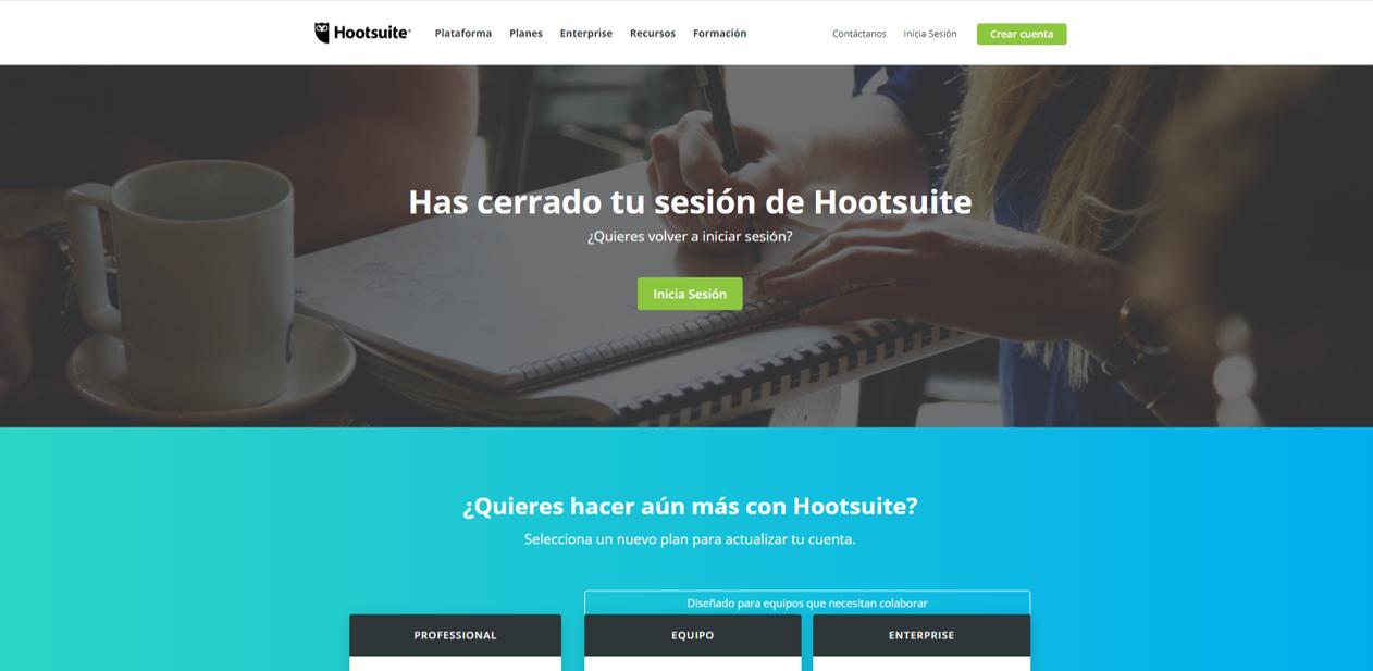Captura de pantalla de página de inicio Hootsuite