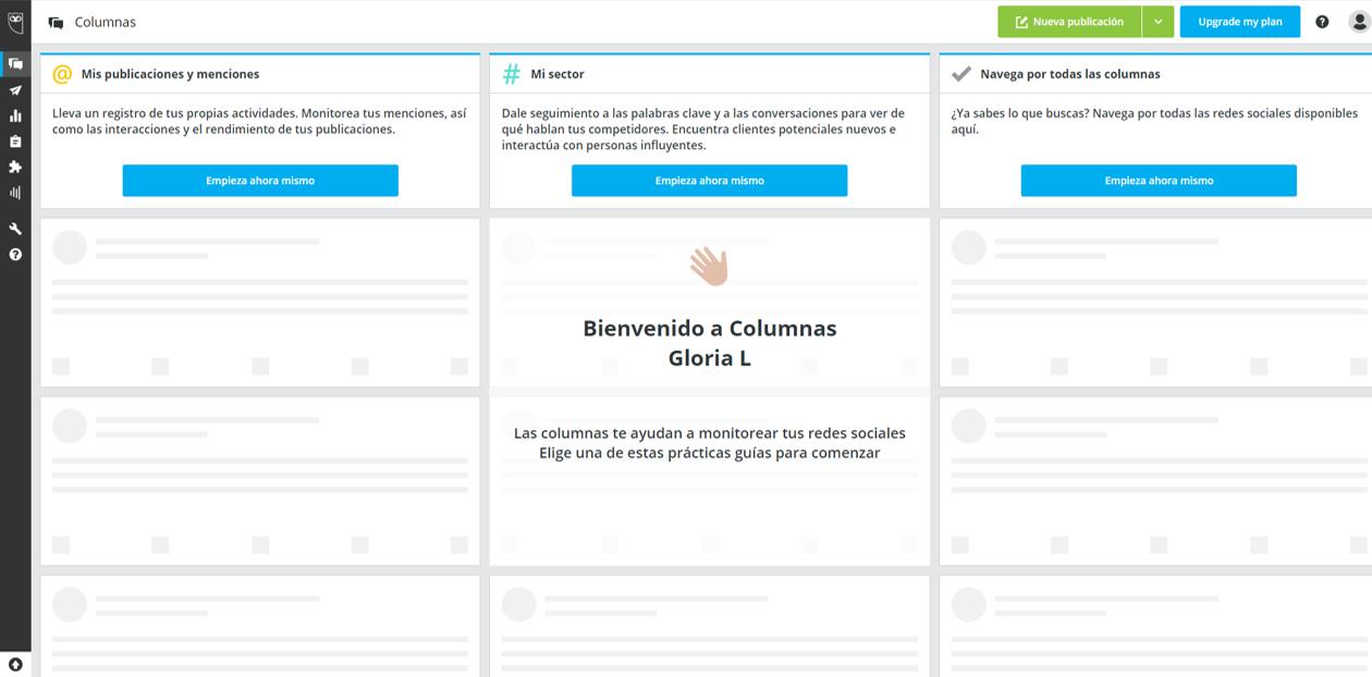 Captura de pantalla de la página principal de Hootsuite