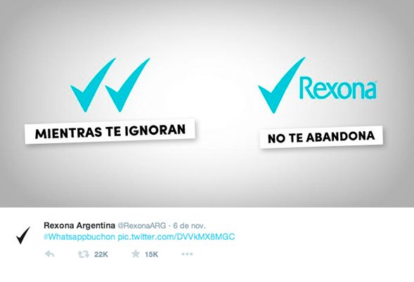 Imagen que muestra una campaña de Rexona Argentina haciendo un buen uso del newsjacking sobre las palomitas azules del WhatsApp