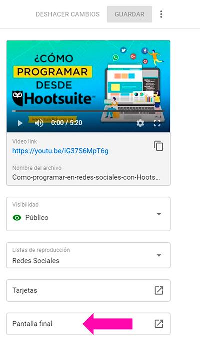 Botón para agregar una pantalla final al video