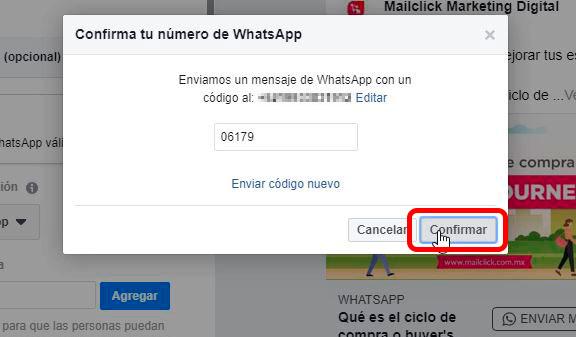 Captura de pantalla de la ventana de confirmación de número de WhatsApp