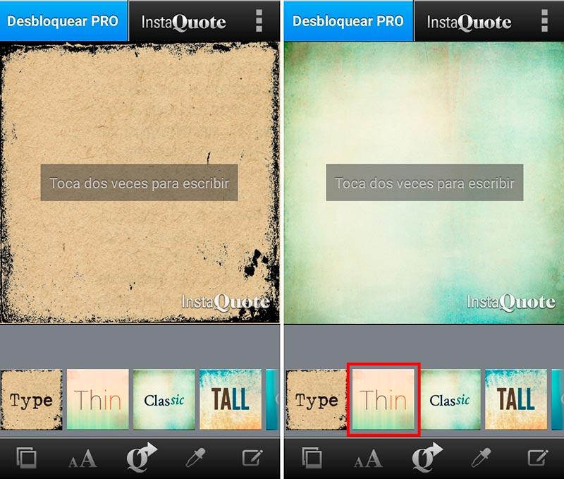 Paso 1: Elige el fondo para tu imagen en InstaQuote