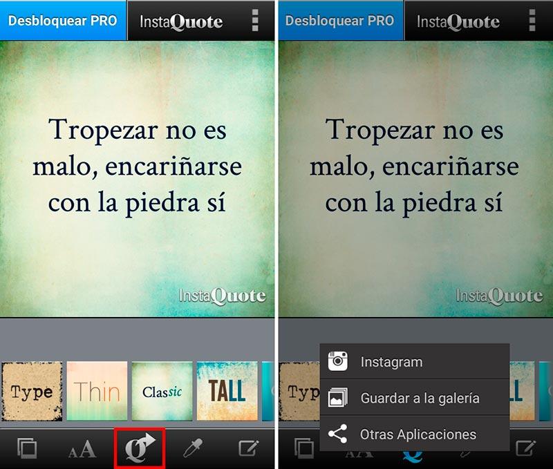 Paso 3: Comparte tu imagen en redes sociales con InstaQuote